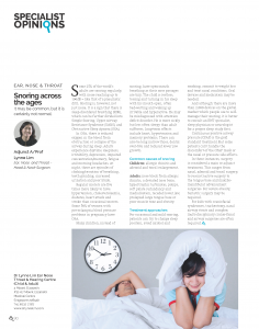 Snoring - Article by Dr Lynne Lim